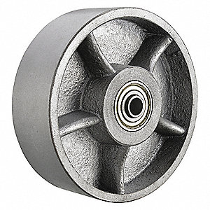 "8"" Caster Wheel, 1500 lb. Load Rating, Wheel Width 2"", Ductile Iron, Fits Axle Dia. 1/2"""