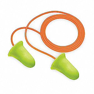 33dB Disposable Bell-Shape Ear Plugs; Corded, Yellow, Universal