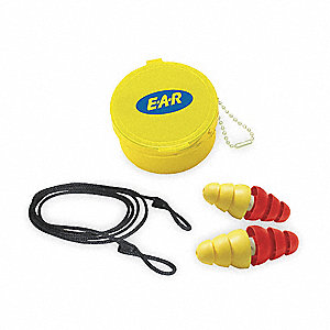 22dB Reusable Flanged Shape Ear Plugs&#x3b; Corded, Yellow/Red, Universal