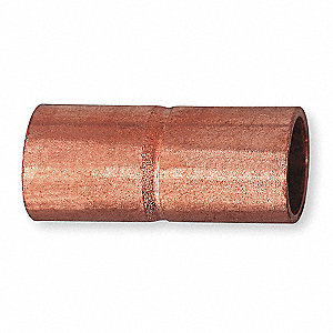 "Wrot Copper Coupling, Rolled Tube Stop, C x C Connection Type, 5/8"" Tube Size"