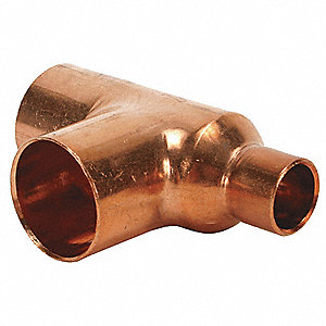 "Wrot Copper Reducing Tee, C x C x C Connection Type, 3/8"" x 1/4"" x 3/8"" Tube Size"