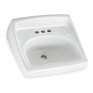"Vitreous China Wall Bathroom Sink Without Faucet, 15"" x 10"" Bowl Size"