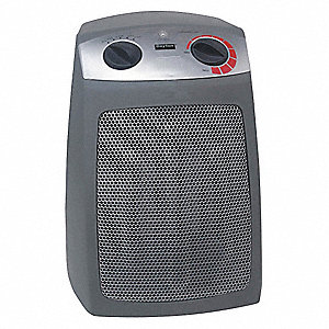 "7-3/4"" x 7-1/4"" x 10-7/8"" Fan Forced Non-Oscillating Electric Space Heater, Gray"
