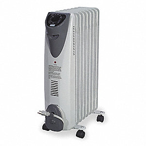 "5-3/4"" x 14-1/4"" x 23-1/2"" Radiant Non-Oscillating Electric Radiant Heater, White/Gray"
