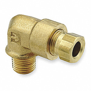 "Male Elbow, 90°, 3/8"" Tube Size, 1/4"" Pipe Size - Pipe Fitting, Metal, 9/16"" Hex Size, PK 10"