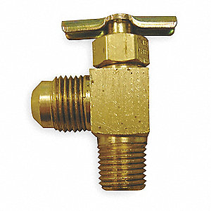 Needle Valve,Angled,Brass,1/8 x 1/4 In.