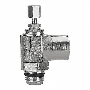"Elbow Universal Flow Control, 1/8"" Valve Port Size, 1/8"" Tube Size, Nickel-Plated Brass"