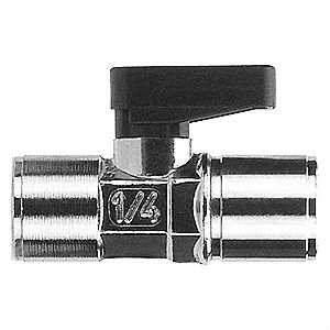 "Nickel-Plated Brass FNPT x FNPT Mini Ball Valve, Wedge, 1/8"" Pipe Size"