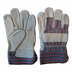 Cowhide Leather Work Gloves, Safety Cuff, Gray, Size: XL, Left and Right Hand