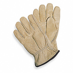Pigskin Drivers Gloves, Slip-On Cuff, Tan, Size: M, Left and Right Hand