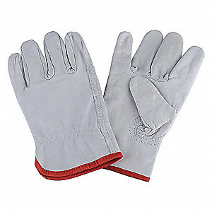 Goatskin Drivers Gloves, Shirred Wrist Cuff, Gray, Size: L, Left and Right Hand