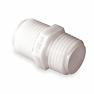 "Nylon Nipple with 1/8"" Pipe Size - Pipe Fitting and 150 Max. Pressure (PSI), Natural"