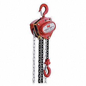 "Manual Chain Hoist, 4000 lb. Load Capacity, 20 ft. Lift, 1-3/8"" Hook Opening"