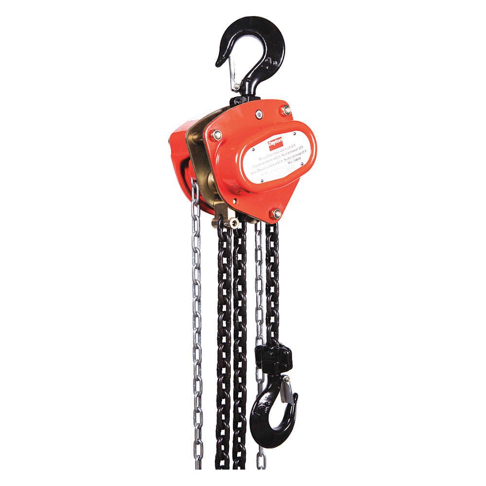 Manual Chain Hoist, 4000 lb. Load Capacity, 20 ft. Hoist Lift, 1-17/64