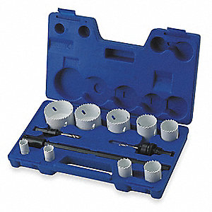 Hole Saw Kit,Bimetal,3/4 To 2.5 In,12 Pc