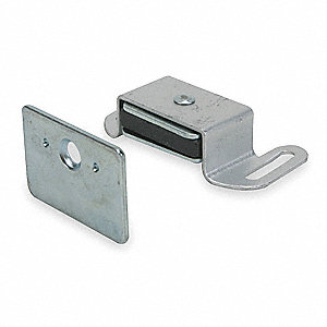 "Magnetic Non-locking Magnetic Catch, 2-1/16""H x 1-1/16""W, Aluminum Finish"