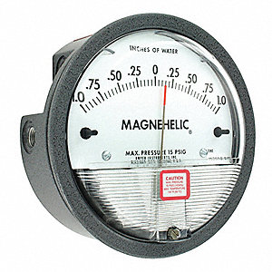 "1/8"" FNPT Differential Pressure Gauge with 3-1/2"" Dial, -1 to 0 to 1 In. H2O, Die Cast Aluminum"
