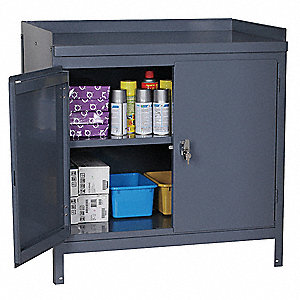 Gray Work Table Cabinet, 37 Height (In.), 36 Width (In.)