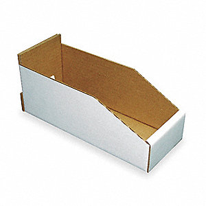 "Corrugated Shelf Bin, 200 lb. Test Rating, White, 4-3/4""H x 11""L x 2-1/4""W, 1EA"