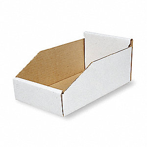 "Corrugated Shelf Bin, 200 lb. Test Rating, White, 4-3/4""H x 11""L x 10-1/4""W, 1EA"