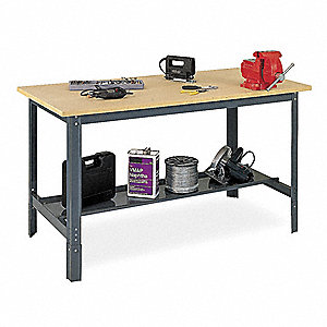 "Workbench, Steel Frame Material, 72"" Width, 24"" Depth  Particleboard Work Surface Material"