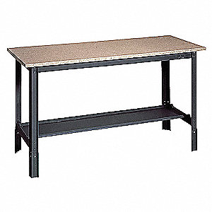 "Workbench, Steel Frame Material, 48"" Width, 24"" Depth  Particleboard Work Surface Material"