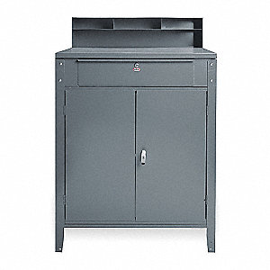 "34-1/2"" x 30"" x 45-1/8"" Steel Cabinet Shop Desk, Industrial Gray"