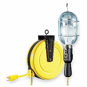Extension Cord Reel with Hand Lamp, Incandescent Lamp with Receptacle, Yellow, 25 ft. Cord Length
