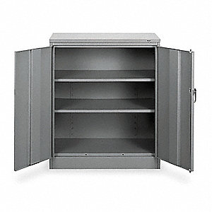"Storage Cabinet, Medium Gray, 42"" Overall Height, Unassembled"