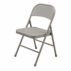 Beige Steel Folding Chair with Beige Seat Color, 1EA