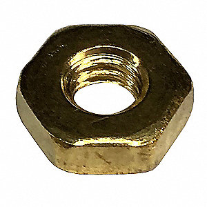 "5/16""-18 Hex Nut, Plain Finish, Not Graded Brass, Right Hand, ASME B18.2.2, PK100"