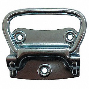 Steel Folding Pull Handle with Polished Zinc Finish, Silver; Hardware Included