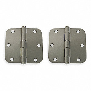 "3-1/2"" x 3-1/2"" Butt Hinge with Satin Nickel Finish, Full Mortise Mounting, Rounded Corners"
