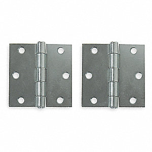 "3"" x 3"" Butt Hinge with Zinc Finish, Full Mortise Mounting, Square Corners"