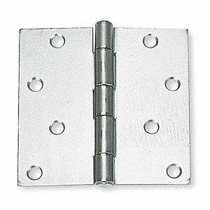 "4"" x 4"" Butt Hinge with Zinc Finish, Full Mortise Mounting, Square Corners"