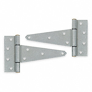 "4-1/4"" x 1-13/16"" Steel Tee Hinge with 4 Holes per Leaf, Galvanized Steel Finish, 2 PK"