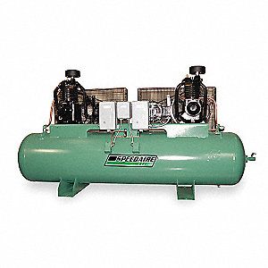 3 Phase Horizontal Tank Mounted Duplex 5HP Electric Air Compressor, 120 gal., 175 psi