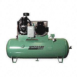 3 Phase Horizontal Tank Mounted 7-1/2HP Electric Air Compressor, 80 gal., 175 psi