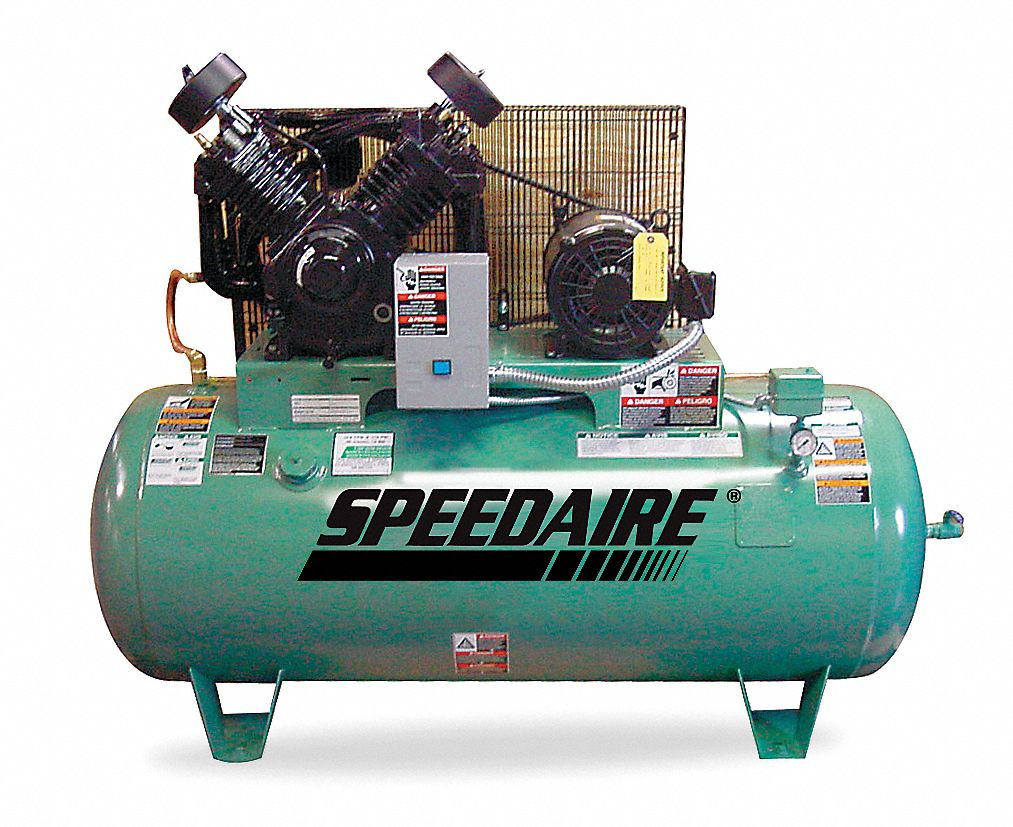 SPEEDAIRE 3 Phase - Electrical Horizontal Tank Mounted 10.0HP - Air  Compressor Stationary Air Compressor, 120 - 1WD72|1WD72 - Grainger