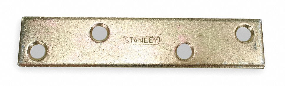 "4 in"" x 27/32 in"" Steel Mending Plate with Brass Finish"