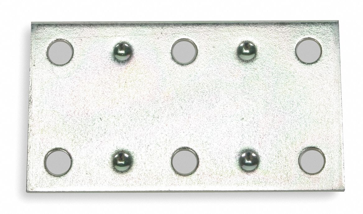 "2 1/2 in"" x 1 2/5 in"" Steel Mending Plate with Zinc Finish"