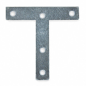 "4"" x 7/8"" Steel T-Plate with Zinc Finish"
