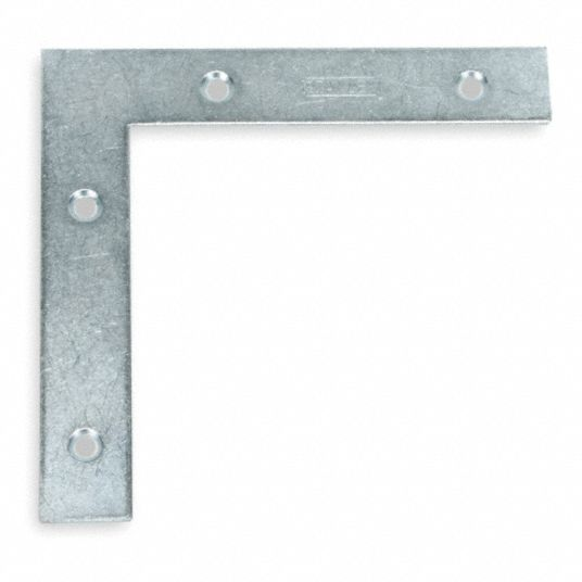 "5 in"" x 7/8 in"" Steel Flat Corner Brace with Zinc Finish"