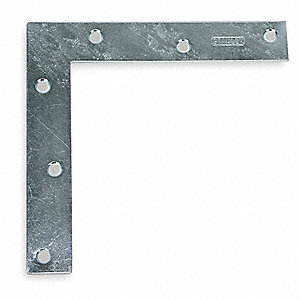 "6"" x 1"" Steel Flat Corner Brace with Zinc Finish"