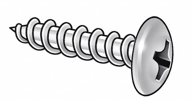 Package of 100 #10 x 3//4 in Plain 18-8 Stainless Steel Tapping Sheet Metal Screw with Truss Head Type
