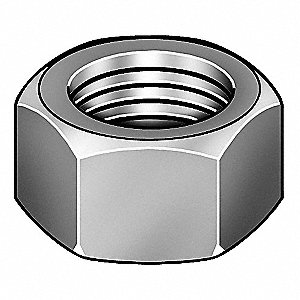Hex Nut,7/16-14,Gr 9,YZ,PK50