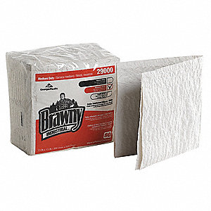 White Paper/Nylon Disposable Towels, Number of Sheets 80, Package Quantity 12