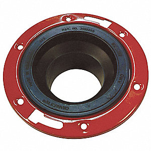 ABS with Metal Ring Toilet Flange, Adjustable, For Use With Grainger Item Number 1CNU1, 1CNU2, 1CNW1