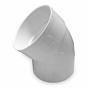 "PVC Street Elbow, 45°, Hub, 4"" Pipe Size - Pipe Fitting"