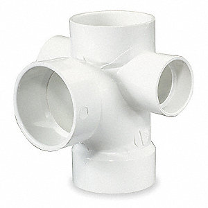 "PVC Sanitary Tee with Right and Left Side Inlet, Hub, 3"" x 3"" x 3"" x 1-1/2"" x 1-1/2"" Pipe Size - Pip"
